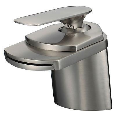 Bathroom Sink Faucet Brushed Nickel Waterfall Centerset One Hole/Handle -