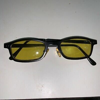 Rare Vintage Versace Sunglasses Black Frame  Yellow Lens Very Rare Made In Italy