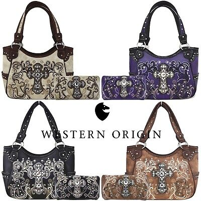 Western Style Cross Totes Country Handbag Women Concealed Carry Purse Wallet - Western Style Tote