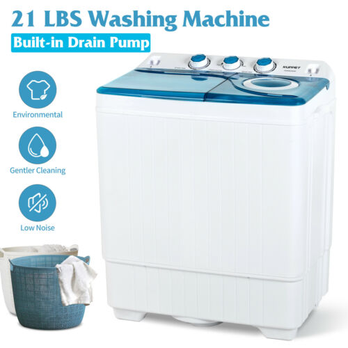 21 LBS Portable Mini Washing Machine Compact Twin Tub Spiner