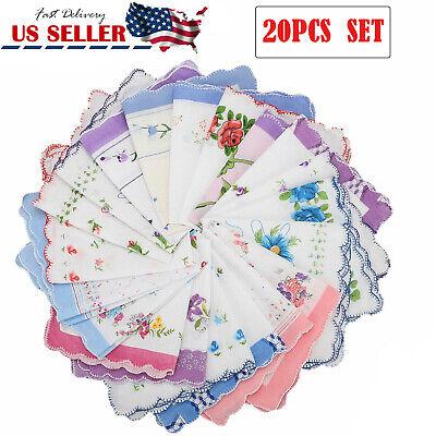 20PCS  Ladies Handkerchiefs 100% Cotton Hankies Hankerchief Pocket Vintage