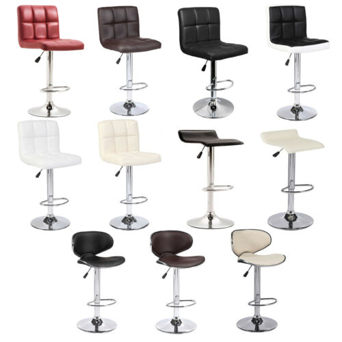 Multi Colors Set of 2 Leather Bar Stools Swivel Conterheight