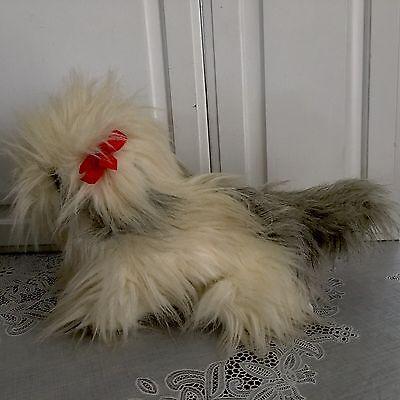 "Lhasa Apso Shitzu Puppy Dog White Gray Vintage Plush 16"" Toy Lovey TLToys"