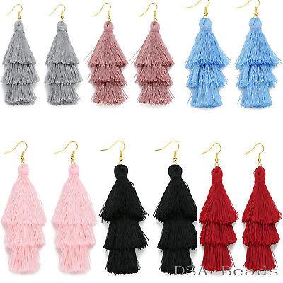 Fashion Charm Crystal Silk Tassel 3 Layers Fan Fringe Dangle Earrings Bohemian -