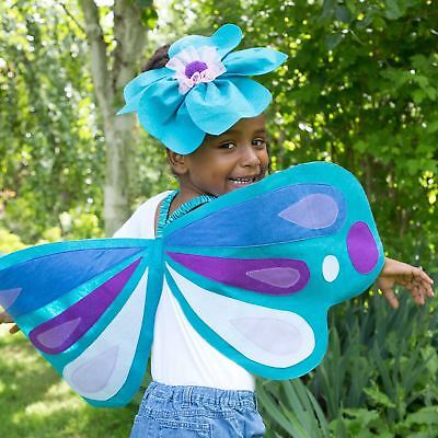 Kinder Mädchen blau Schmetterlingsflügel & Stirnband Insekt Käfer Kostüm Set ()