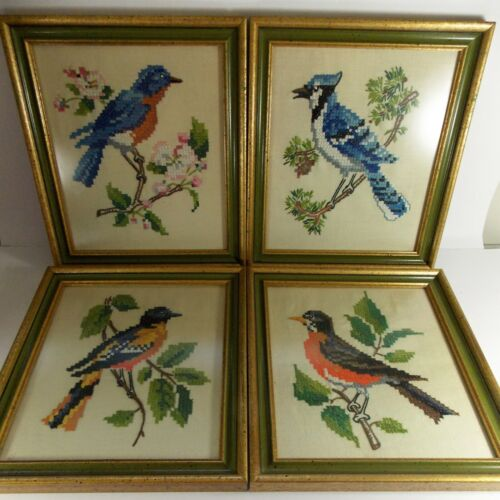 Set of 4 Vintage Cross Stitch North American Birds Collection FRAMED Pictures