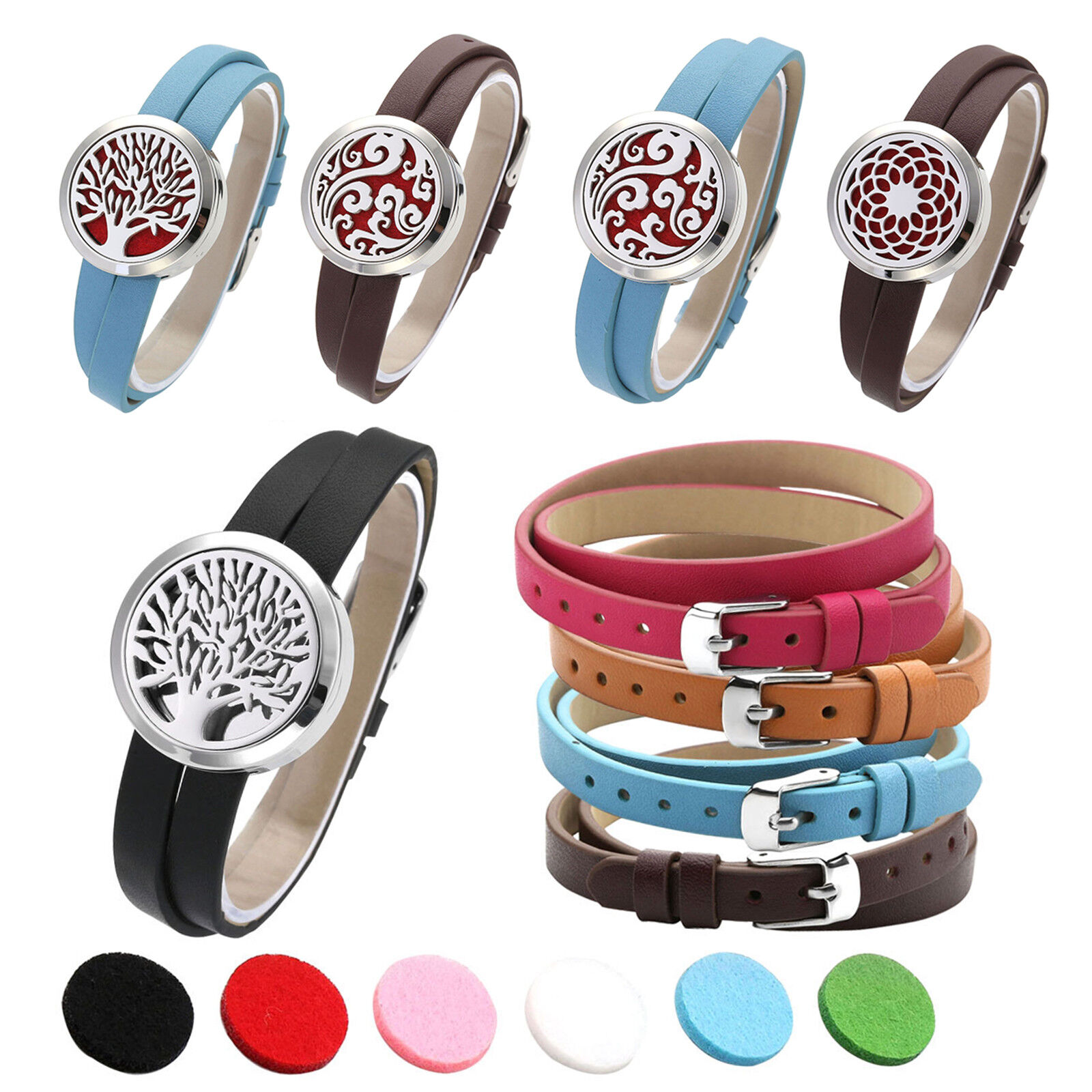 Women's 5pcs Leather Bracelet Locket Aromatherapy Essential