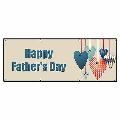 HAPPY FATHER'S DAY Banner Sign 4 ft x 2 ft /w 4 Grommets