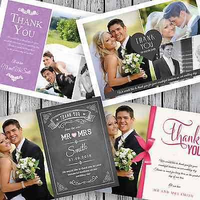 100 Personalised Wedding Thank You Cards with your photos + Envelopes