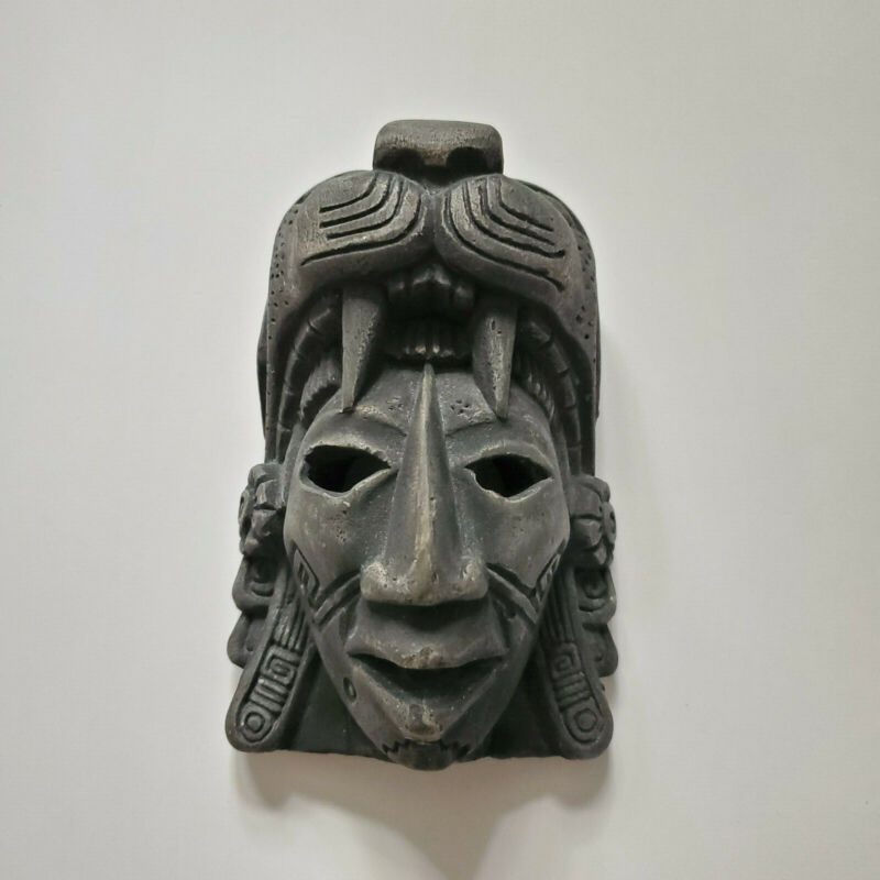 Mayan/Aztec warrior clay mask w/ Leopard HAND MADE from Mexico, Mayan temple.