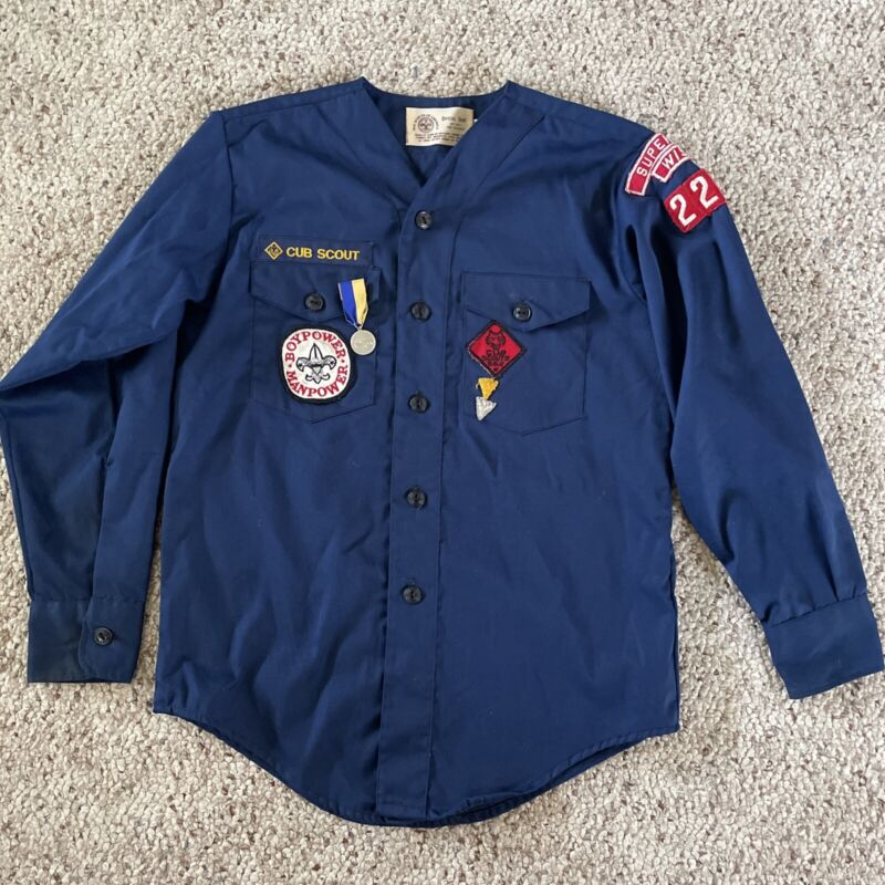 Vintage Cub Scouts BSA Uniform Top Patches/Pinewood Derby Ribbon Pin 1970s