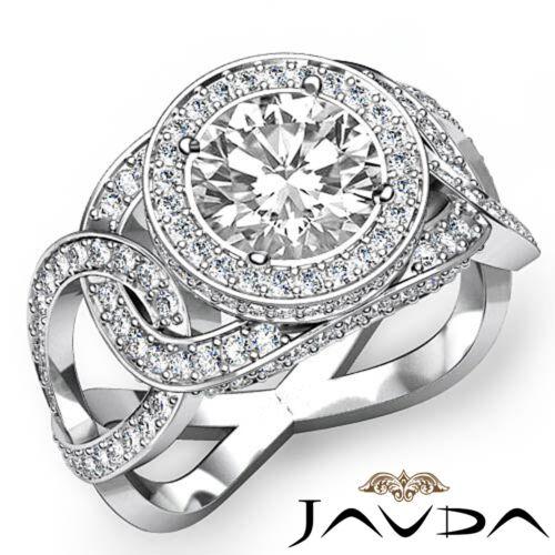 2.3ct Round Diamond Unique Designer Engagement Halo Ring GIA F VVS2 Platinum