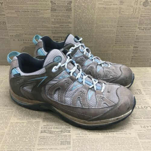 Oboz Womens B Dry Gray Blue Hiking Shoes Lace Up Low Top Size 8.5