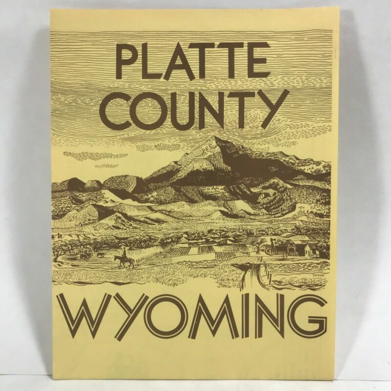 1959 PLATTE COUNTY WYOMING Wheatland Trade Area Highway Road Map Travel Guide