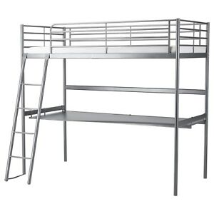 IKEA SVARTA loft bed frame with desk top(with twin mattress)