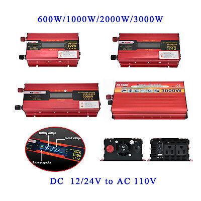 Us Portable Car Led Power Inverter Watt Dc 12V 24V To Ac 110V Charger Converter