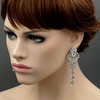 Pearl Rhodium Plated Earrings - Rhodium Plated Clear Crystal Rhinestone Wedding Drop Dangle Earrings 04046