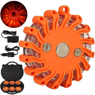 6x Led Road Flares Emergency Lights Roadside Safety Beacon Disc Flashing Warning