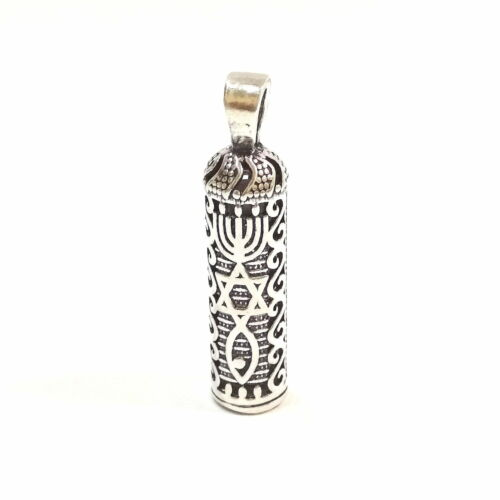 925 Sterling Silver MESSIANIC Symbol MEZUZAH PENDANT Menorah Star of David Fish