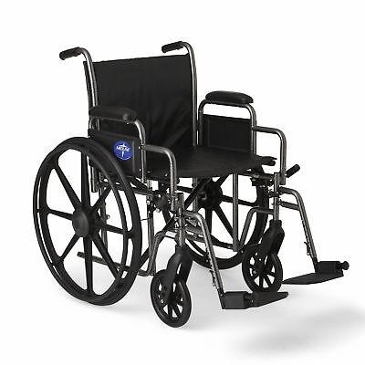 "Medline K2 Basic Wheelchair with 20""x16"" Seat, Swing Away Fo"