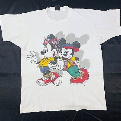 1940s Men's Shirts, Sweaters, Vests Vtg 90s Disney Mickey Minnie Mouse 1940s Attire Large Print White T-Shirt Sz XL $35.00 AT vintagedancer.com
