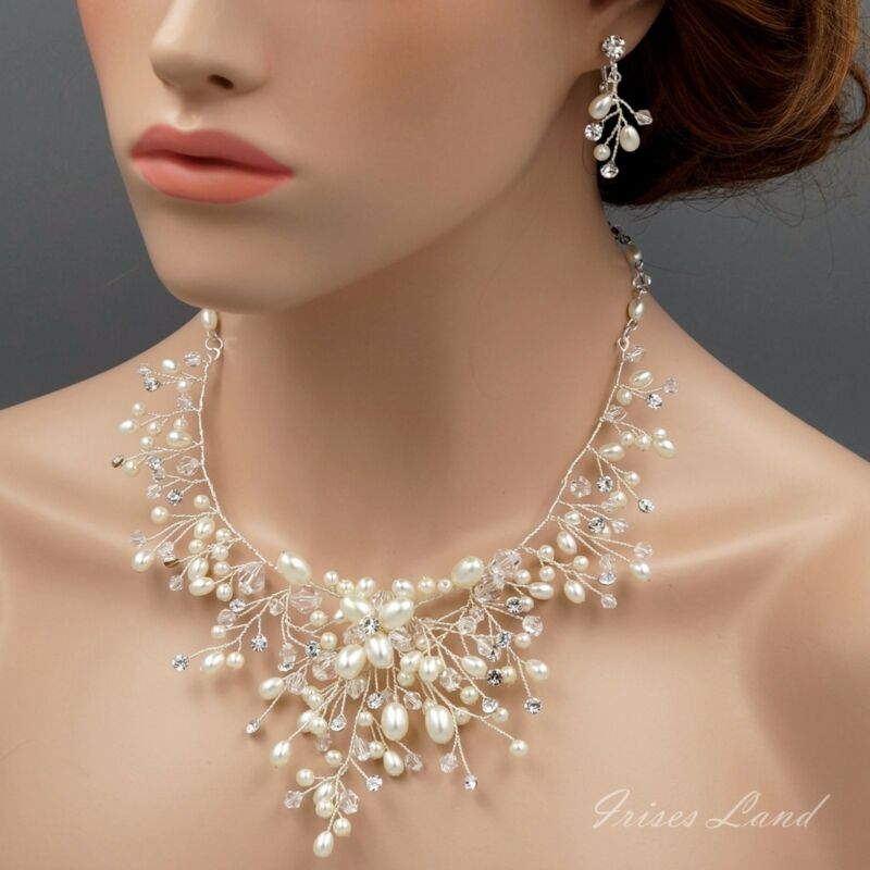Pearl Crystal Necklace Earrings Bridal Wedding Jewelry Set Silver 01796 Clip-on