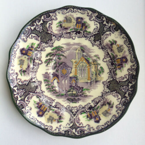 """Petrus Regout & Co Maastricht Abbey Holland 6"""" china side plate PURPLE GREEN"""