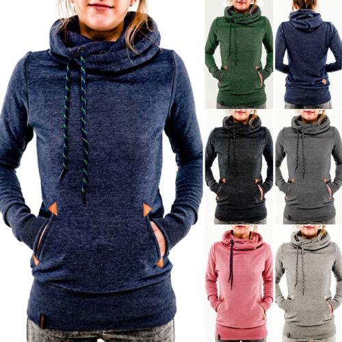 Women's Pocket Hooded Long Sleeve Sweatshirt Hoodie Pullover