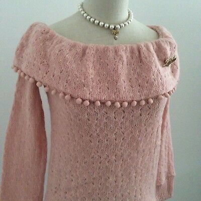LIZ LISA Sweater Knit Top off-the-shoulder Pink Kawaii Japan Gyaru Fahion #12927
