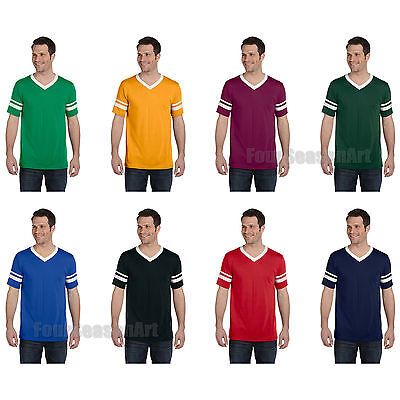 Augusta Mens V Neck Jersey Striped Sleeves Baseball Team Sport T Shirt S 2Xl 360