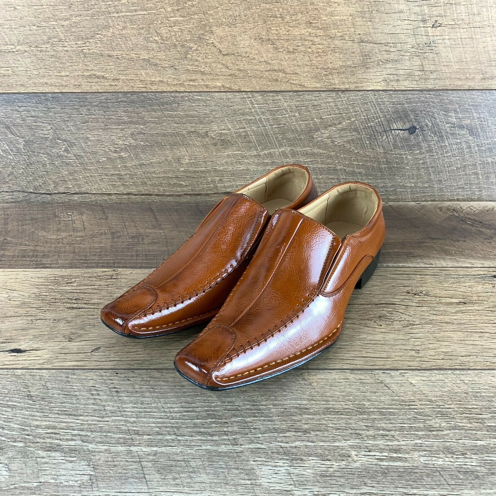 Enzo Romeo Erice Slip on Brown Leather Casual Dressy Loafer