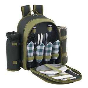 VonShef 4 Person Deluxe Picnic Hamper Backpack Rucksack Cooler Compartment Bag