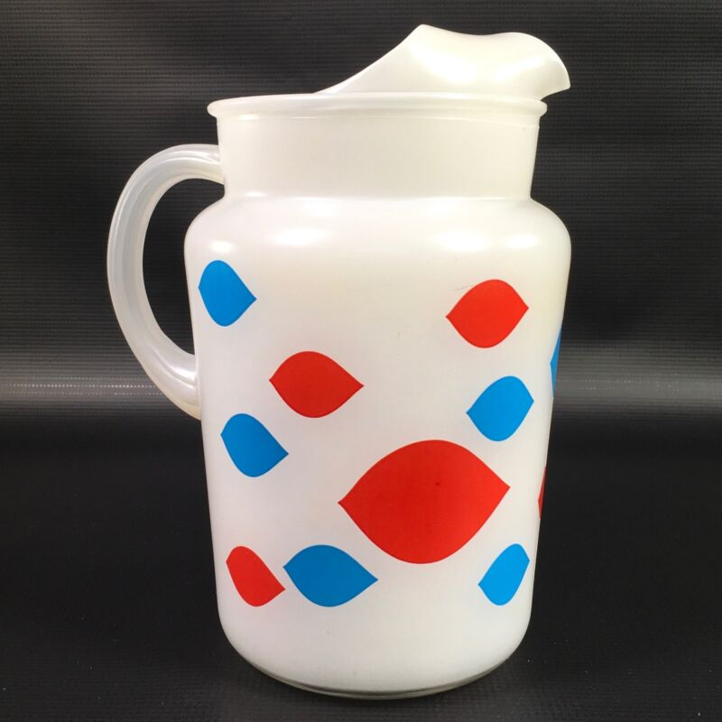 Dairy Queen DQ Pitcher White Frosted Red Blue logos Midcentury