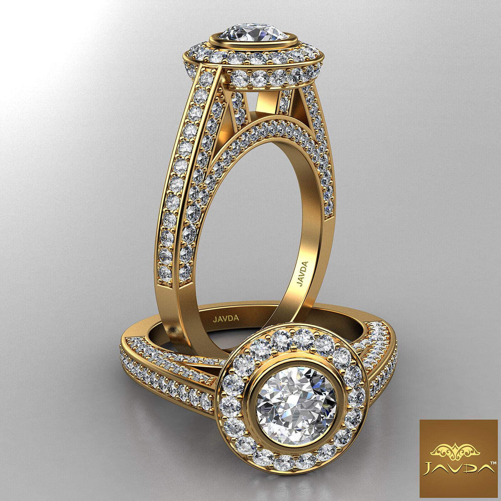 Bridge Accent Halo Pave Bezel Set Round Diamond Engagement Ring GIA F VS1 2.75Ct
