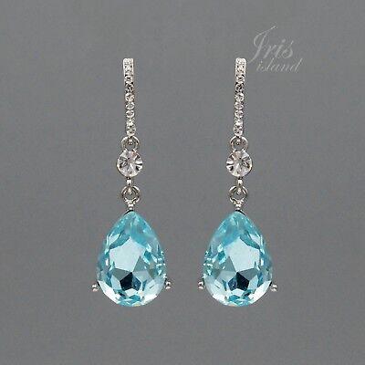 Aqua Blue Crystal Rhinestone Wedding Drop Dangle Earrings 205 Bridesmaids Silver