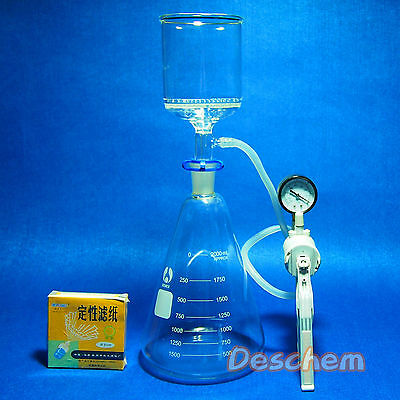 2000mlsuction Filtration Unit90mm Buchner Funnel2 Litre Flask Vacuum Pump