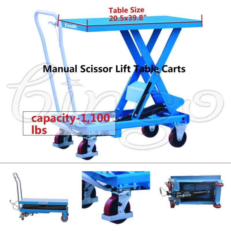 """Eoslift TA50 Hydraulic Manual Scissor Lift Table Cart Ca. 1,100Lbs 20.5x39.8"""" US"""
