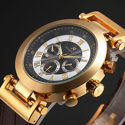 $25.99 - KS Luxury Men's Leather Navigator Date Automatic Mechanical Sport Wrist Watch