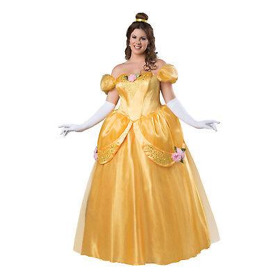Women's Princess Beauty Yellow Ball Gown Halloween Belle Costume PLUS 2XL 3XL (Halloween Costume Ball Gowns)