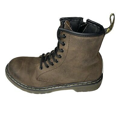 Dr. Doc Martens Air Wair Delaney Brown Combat Boots Kids Size 3 Side Zip Lace Up