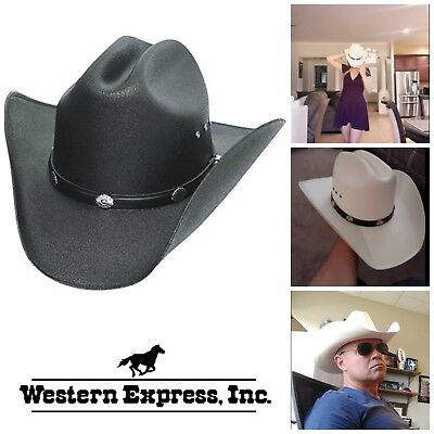 Straw Cowboy Hat Western Hats Classic Cattleman Mens Accessories Black White