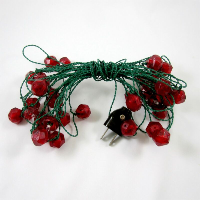 Made in Italy Christmas Lights String Vintage Red Faceted Plastic Reflectors