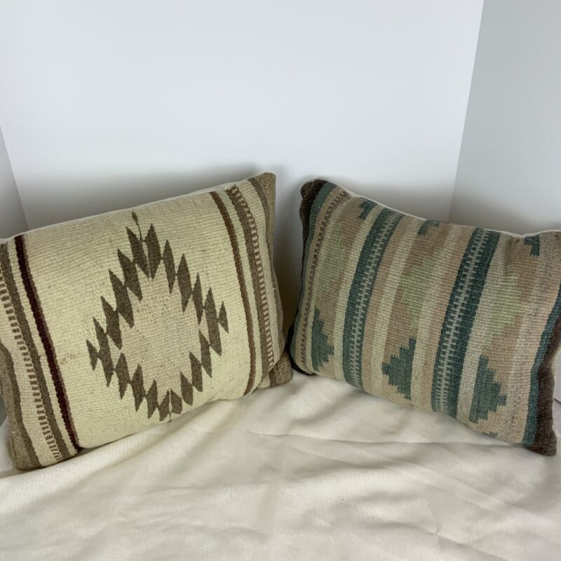 Vintage Southwestern Native American Hand Woven Wool Throw Pillows Set Of 2