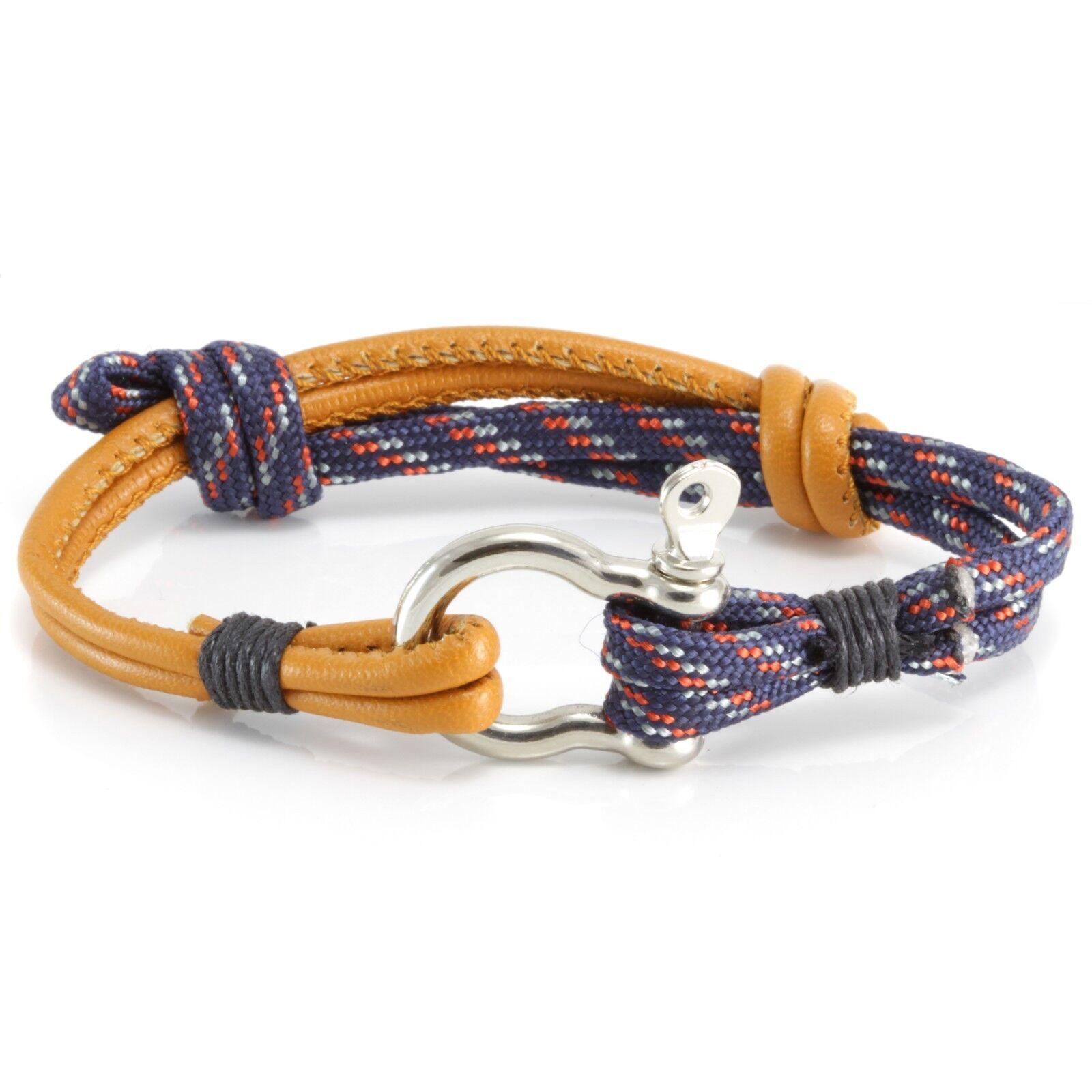 8724166467da5 Details about Mens Adjustable Blue Orange Cord Sailor Rope Knot Anchor Wrap  Wristband Bracelet
