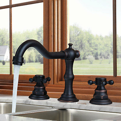 Deck Mount Basin Set - US Bathroom Deck Mounted 3 pieces Bath Basin Sink Mixer Tap ORB Faucet Set