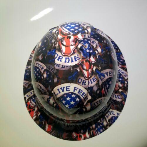 NEW FULL BRIM Hard Hat custom hydro dipped LIVE FREE OR DIE USA AMERICA sick 4