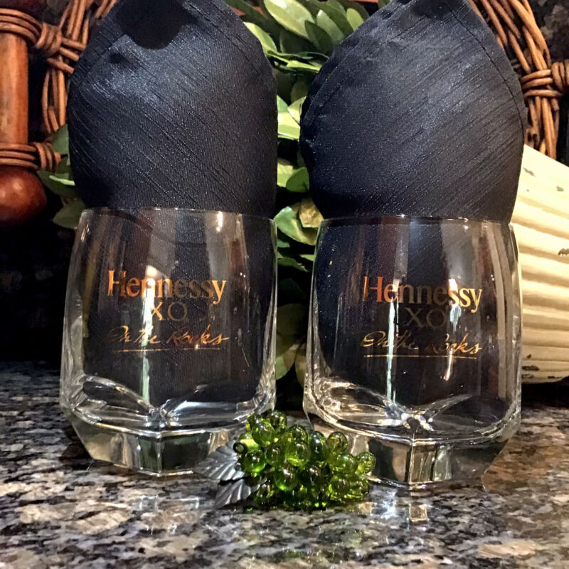 Vintage HENNESSY X.O.  On The Rocks Gold Foil Hexagon Base Glasses (2) PRISTINE!