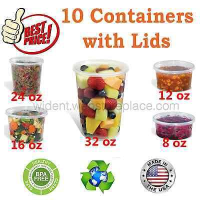 Plastic Food Storage Soup Deli Container with Lids 8oz, 12oz, 16oz, 24oz, 32oz