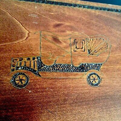 Vintage Car Design Wooden Retro Hand Made Mid 20thC Cigarette / Trinket Box