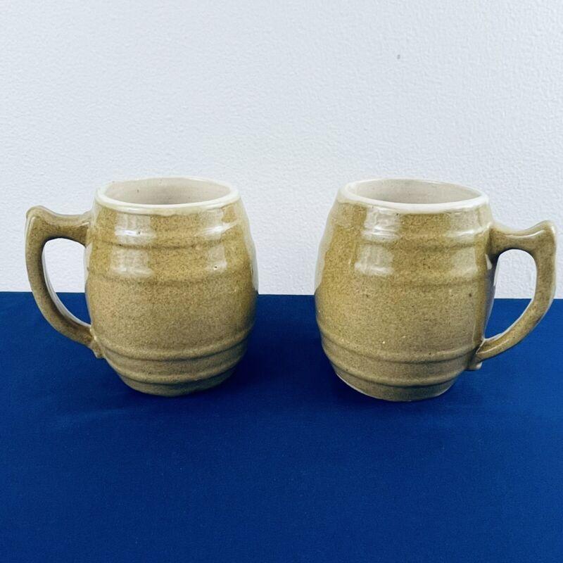 Lot of 2 Vintage UHL Pottery Co Barrel Mugs Steins 16 Huntingburg IND Stoneware